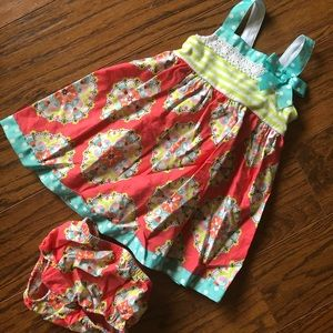 Bonnie Baby - colorful patterned dress & bloomers